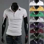 Mens Casual Short Sleeve T-shirt Slim Fit Chic Pocket Polo Shirts Tops