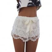 Fashion New Women Girl Lace Hem Crochet Chiffon Belt Summer Beach Shorts Pants