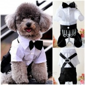 Handsome Formal Dog Jumpsuit with Bow Tie Groom Tuxedo Pet Costumes