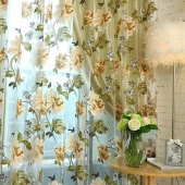Chinese Fabric Tulle Sheer Embroidered 3D Window Curtains Home Textile Decor(No beads)
