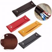 Leather Soft Button Pen Pencil Makeup Brush Case Pouch Bag Stationery