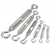 M4/5/6/8/10/12 Hook & Eye Turn Buckle Wire Rope Turn Buckle Adjust Chain 304 Stainless Steel