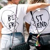Summer Best Friends T Shirt Print Letter Women T-shirt Fashion Short Sleeve Clothing White Black