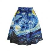 Fashion above Knee Skirt Casual Skirts High Waist Van Gogh's Starry Night Print Skirts for Women