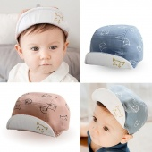 Summer Baby Cap Hats Cat Print Style Bonnet Cotton Sun Hat