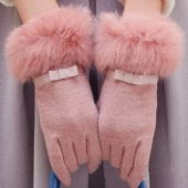 Female Double Thick Warm Autumn And Winter Cold Wind Angora Cashmere Fleece Gloves Mouth