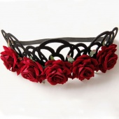 Red Rose Girl Hairbands Queen Crown Tiara Headwreath Gothic Punk Headbands Woman Party Hair Accessories