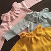 Autumn Toddlers Girls Lotus Leaf Collar Knitted Sweaters Baby Girl Clothing Kids Sweaters Pink/Yellow/Gray