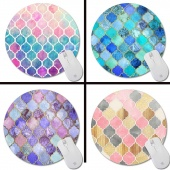 Rainbow Pastel Watercolor Moroccan Pattern Prints Mouse Pad Small Size round Gaming Non-Skid Rubber Pad