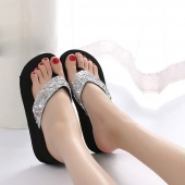 Women's Summer Sequins Anti-Slip Sandals Slipper Indoor & Outdoor Flip-flops