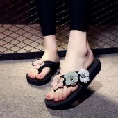 Women Summer Flowers Flip Flops Slides Shoes Casual Beach Flats Non-slip Slippers