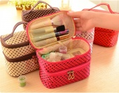 6 Colors Fashion Double Layered Large Capacity Polka Dot Girl's Cosmetic Makeup Storage Bag