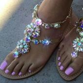 Summer Plus Size Ladies Sandals Rhinestone Design Flip Flops Sandals Sexy Women Shoes T-strap Shoes