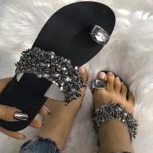 Summer Fashion Diamond Flat Slippers Women Beach Slippers Crystal Sandals