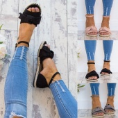 Women Summer Fashion Style Flip-flop Sandals Flat Lace Up Shoes Suede Bow Espadrilles