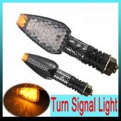 2pcs 10LEDs Amber Universal Carbon Motorcycle Turn Signal Indicator Light Lamp