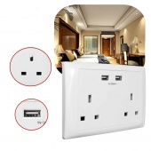 13A 250V Double USB Port Wall Socket Power Charger Adapter Outlet Panel UK Plug