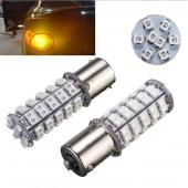 2 PCs 1156 BA15S 68 SMD Amber/Yellow Tail Fog Turn Signal LED Car Lamp