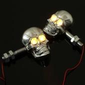 Pair Chrome Universal Motorcycle Skeleton Head Skull Turn Signal Light Indicator Lamp