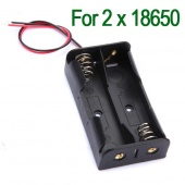 """Black Plastic Battery Storage Case Box Holder for 2 X 18650 with 6"""" Wire Leads"""
