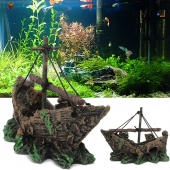 Fish Tank Decoration Cave Decor Sailing Boat Shipwreck Aquarium Sunk Ship