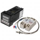 220V Digital PID Temperature Controller Max.40A SSR K Thermocouple Probe Cable