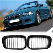 Pair Black & Chrome Front Kidney Grill Grille for BMW 3 Series E46 323 325 328 330 4 Door 1999 2000 2001
