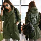 S-XL Women Skull Retro Military Parka Button Oversized Trench Hooded Jacket Coat
