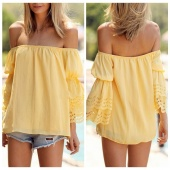 New Ladies Backless Strapless Chiffon Loose Blouse Off-Shoulder Top Tee Summer Beach Shirt Bikini Cover Up