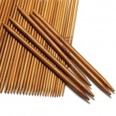 55Pcs 11sizes 5'' 13cm Double Pointed Carbonized Bamboo Knitting Needles Natural