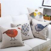 Bird Printed Pillow Case Cotton Linen Cushion Cover Decorative Square Housewares