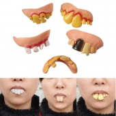 5pcs Funny Joke Creepy Denture Party Prop Trick Toy Fake Rotten Teeth Halloween