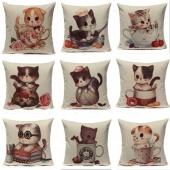Cotton Linen Cute Cats Home Car Throw Pillow Case Cushion Cover Decoration