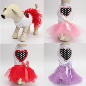Xmas Wedding Party Heart Bow Design Pet Dog Dress Skirt Cat Puppy Princess Dress Dog Clothes Clothing Pet Apparel Tutu