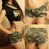 Sexy Women's Camouflage Jeans Shorts Hot Denim Low Waist Fashion Shorts