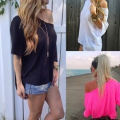 Women Sexy Off-shoulder Loose Short Sleeve Chiffon Blouse Tops Summer Shirt