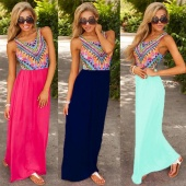 New Ladies Summer Long Maxi Evening Party Dress Beach Dresses Sundress UK 6-20