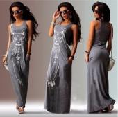 Womens Femme Fashion Sleeveless Cat Print Long Maxi Dress