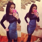 Women Bodycon Dress Long Sleeve Slim Mini Dress Sexy Club Wear