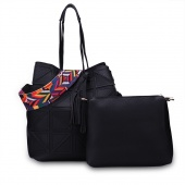 Women Pu Leather Handbag Shoulder Bag Tote Purse 2pcs Set