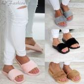 Fashion Women Faux Fur Rubber Slip on Sliders Flip Flops Slippers Flat Shoes