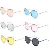 New Fashion Color Film Sunglasses Metal Frames Women's Sunglasses