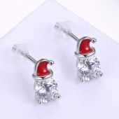 Fashion Sterling Silver Earrings Red Christmas Hat Enamel Diamond Earrings