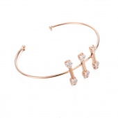 Fashion Pearl Crystal Bangle Antique Gold Plated Round Shape Bangle