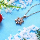 Fashion Christmas Zircon Necklace Rose Gold Platinum Snowflake Necklace