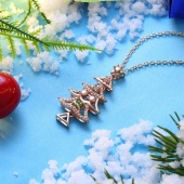 Fashion Christmas Tree Necklace with Zircon Necklace 18 Inches
