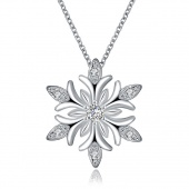 Christmas Snowflake Big Flower Fashion Necklace Silver Necklace Pendants for Women Girls Gifts