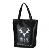 Fashion Women PU Leather Handbags Shoulder Bag Black Letters Printed Bag