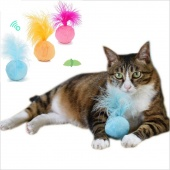 Creative Pet Toy Sound Catnip Toy Ball Plush Bell Feather Funny Cat Toy