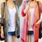 Women's Casual Tops Loose Stripes Irregularly Long Sleeve Cardigan Outwear